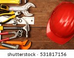 Hand Tools And Helmet On A...