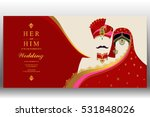 indian wedding card  gold and... | Shutterstock .eps vector #531848026