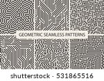 Collection of striped seamless geometric patterns. Digital design. | Shutterstock vector #531865516