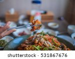 spicy angler fish with soybean... | Shutterstock . vector #531867676