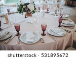 holiday table with serving in... | Shutterstock . vector #531895672