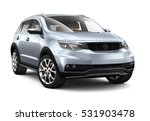 Stock photo compact silver suv d render on white 531903478