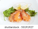 three raw prawns with lemon and ... | Shutterstock . vector #53191927