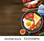 breakfast in frying pan... | Shutterstock .eps vector #531920896