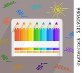 colored rainbow pencils set in... | Shutterstock .eps vector #531929086