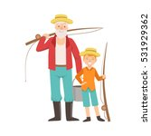 grandfather and grandson going... | Shutterstock .eps vector #531929362