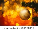 fir branch with balls and... | Shutterstock . vector #531930112