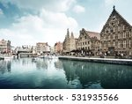 leie river in ghent town ... | Shutterstock . vector #531935566