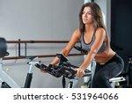 muscular young woman working... | Shutterstock . vector #531964066