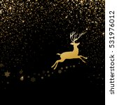 christmas deer with golden... | Shutterstock .eps vector #531976012