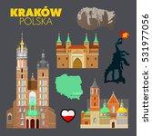 krakow poland travel doodle... | Shutterstock .eps vector #531977056
