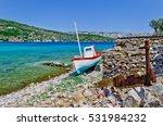 Small photo of Fishing boat on the aegean island Samos