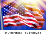 flag of the usa against a blue... | Shutterstock . vector #531985255