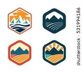 High Mountain In Hexagon Logo...