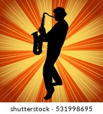 sax musician silhouette on the... | Shutterstock .eps vector #531998695