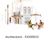 street cafe with people... | Shutterstock .eps vector #53200015