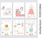 set of birthday  greeting and... | Shutterstock .eps vector #532013866