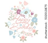 birthday card in vintage style. ... | Shutterstock .eps vector #532013875