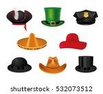 hat set with black cylinder ... | Shutterstock .eps vector #532073512
