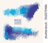 vector set of blue watercolor... | Shutterstock .eps vector #532075486