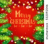 typographic christmas card with ... | Shutterstock .eps vector #532092046