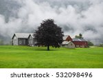 traditional farm house and barn ... | Shutterstock . vector #532098496