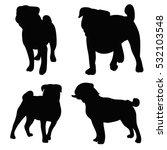 silhouette of a dog a pug  a set | Shutterstock .eps vector #532103548