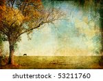 pictorial autumn landscape - artistic picture - stock photo
