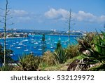 Small photo of View of the harbor at Marigot, Saint Martin from a hillside in Marigot.
