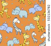 seamless pattern with cute... | Shutterstock . vector #532136782