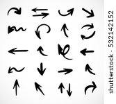 hand drawn arrows  vector set | Shutterstock .eps vector #532142152