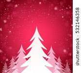 winter woods with a red shine... | Shutterstock .eps vector #532146358