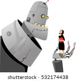 giant robot talking to a... | Shutterstock .eps vector #532174438