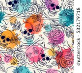 seamless pattern with skull and ... | Shutterstock .eps vector #532179718