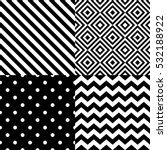 Stock vector seamless geometric pattern set in black and white 532188922