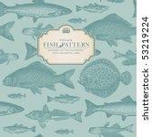 seamlessly tiling retro fish... | Shutterstock .eps vector #53219224