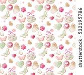 valentine vector heart seamless ... | Shutterstock .eps vector #532195786