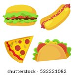 cute fast food icons set.... | Shutterstock .eps vector #532221082