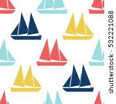 retro boat seamless pattern.... | Shutterstock .eps vector #532221088