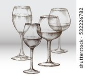 glasses for wine  ink drawing.  ... | Shutterstock .eps vector #532226782