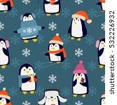 christmas penguins seamless... | Shutterstock .eps vector #532226932