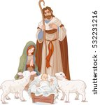 christmas nativity scene with... | Shutterstock .eps vector #532231216