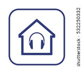 headphone  icon.   flat design.   Shutterstock .eps vector #532250332