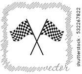 Racing Flag  Black Vector  Icon