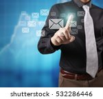 touching virtual icon of social ... | Shutterstock . vector #532286446