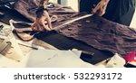 fashion designer cutting tailor ... | Shutterstock . vector #532293172