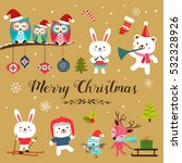 set of cute cartoon christmas... | Shutterstock .eps vector #532328926