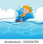 scene with boy doing water ski... | Shutterstock .eps vector #532336705