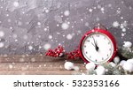vintage red clock  branches fur ... | Shutterstock . vector #532353166