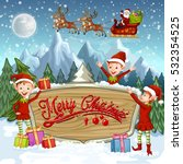 christmas banners with santa... | Shutterstock . vector #532354525